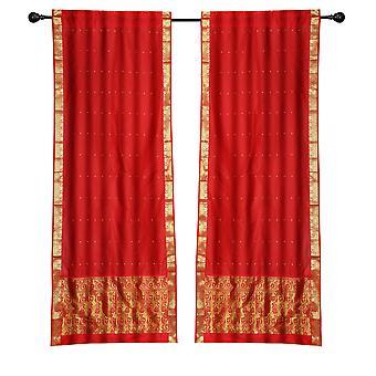 2 Boho rot indischen Sari Vorhänge Rod Taschenfenster Fenster Platten