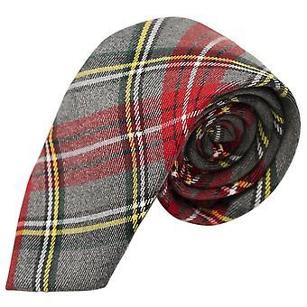 Traditionele licht grijs & rode Tartan Tie, Check, Plaid