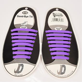 Trendy shoelaces that do not need to be tied 8 pairs-purple