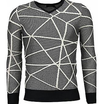 Casual Sweater - Trendy Wool Sweater - Grey Black