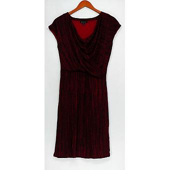 H door Halston jurk Frost print gedrapeerd Cowl nek Shiraz rood A269413