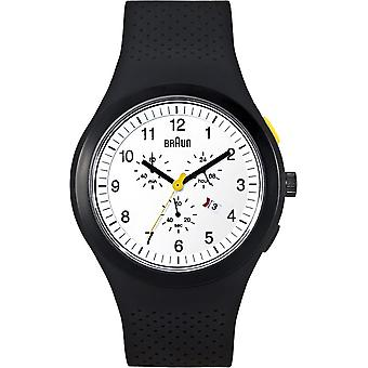 Braun sport urban black watch for Japanese Quartz Analog Man with Silicone Bracelet BN0115WHBKBKG