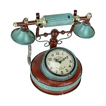 Old Town Metal Art Antique Telephone Phone Table Clock