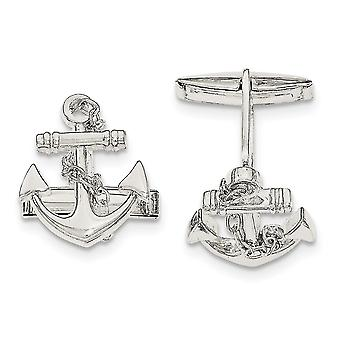 925 Sterling Silver Nautical Ship Mariner Anchor With Dangle Rope Cuff Links Jewelry Gifts for Men
