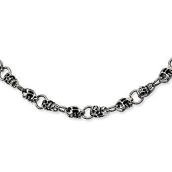 Ruostumaton teräs kiillotettu fancy hummeri sulkeminen kallo kaulakoru 24 tuuman korut lahjoja naisille