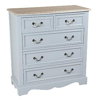 Charles Bentley Loxley Chest of 5 Drawers Grey Vintage Cabinet Sideboard H95 x L38 x W90cm