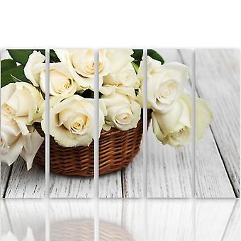 Cinque parti immagine su tela, Pentaptych, tipo C, rose nel cesto