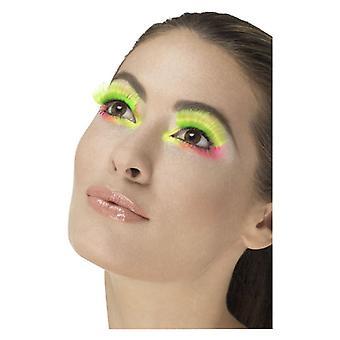 80s rzęsy party, Neon Green, zawiera Akcesoria Fancy Dress kleju