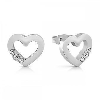 Guess Jewellery Guess Small Silver Heart Frame Crystal Studs UBE78057