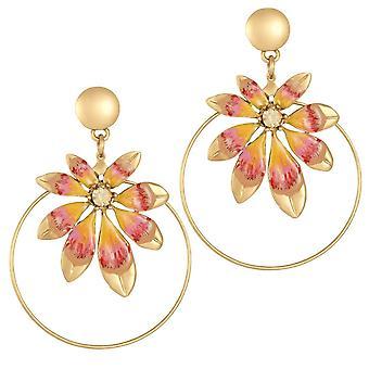 Eternal Collection Biarritz oranssi emali kulta sävy pudota vanne lävistetyt korva korut