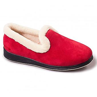 Padders Repose Ladies Microsuede Extra Wide (2e) Full Slippers Red
