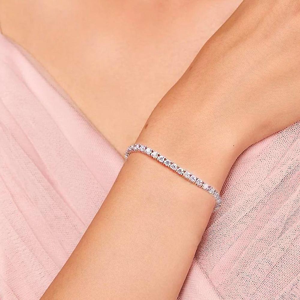 925 Sterling Silver 4mm Silver Full  Round Stones Tennis Bracelet