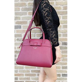 Kate spade kirk park julita saffiano bag satchel black cherry burgundy bow