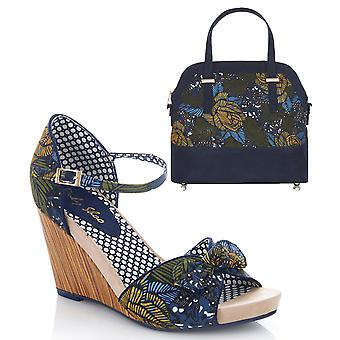 Ruby Shoo Women's Fabric Wedge Molly Sandals & Matching Lima Bag