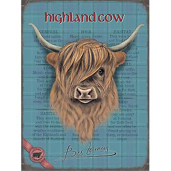 Medium Wall Plaque 200mm x 150mm - Highland Cow by The Original Metal Sign Co