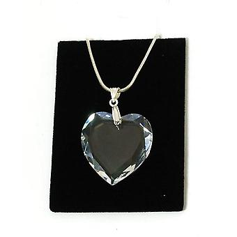 TOC 28mm Clear Flat Heart Pendant Made with Swarovski Crystals On Silver Chain
