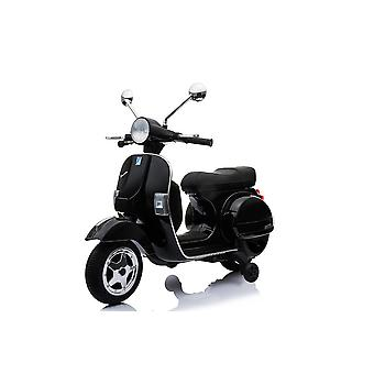 Children's Electric Motorcycle Scooter Vespa, Leather Seat, MP3, USB, 2x 6V Electric Motors
