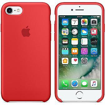 Originalpackad Apple Silikon Microfiber Cover Cover Case för iPhone 8 / 7 iPhone SE 2020 - Röd