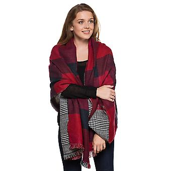 Ladies Lizzie Reversible Large Square Warm Thermal Winter Blanket Scarf Red