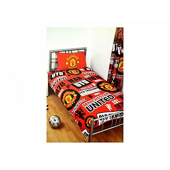 Manchester United FC Official Football Patch Single Duvet And Pillow Set