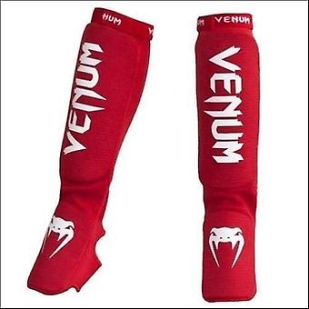 Venum kontact shin instep guards red