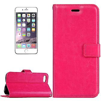 For iPhone 8 PLUS,7 PLUS Wallet Case,Elegant Horse Texture Leather Cover,Magenta