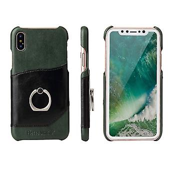 For iPhone XS,X Case,Fierre Shann Modern Ring Holder Genuine Leather Cover,Black