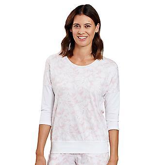Rösch 1202032-16406 Dámské apos;s Být šťastný bílý grafický květ pyžama Top