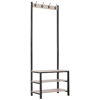 4 Hooks Wooden Garment Rack Freestanding Coat Rail Storage Shelves Metal Tidy Shoes Clothes Stand Entryway Furniture