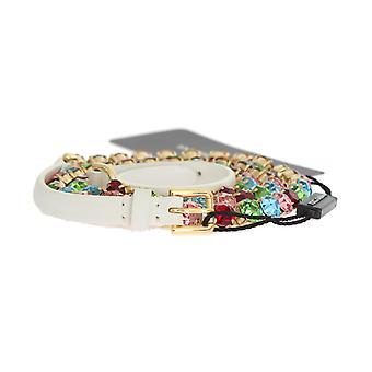 Dolce & Gabbana hvitt skinn krystall gull belte