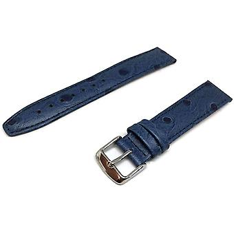 Ostrich grain watch strap blue calf leather chrome buckle size 12mm to 20mm