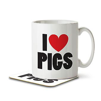 I Love Pigs - Mug and Coaster