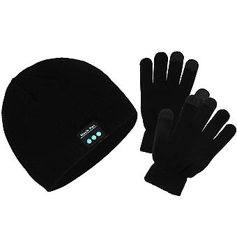 2 in 1 kit Bluetooth Beanie Hat and Touch Gloves Buttons- Moxie, Black