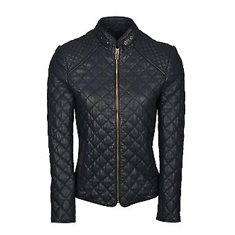 Valletri II Quilted Leather Jacket in Navy