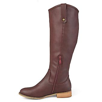 Brinley Co Womens Faux Leather Regular, Wide and Extra Wide Calf Mid-Calf Rou...