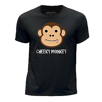STUFF4 Boy's Round Neck T-Shirt/Cheeky Monkey/Black