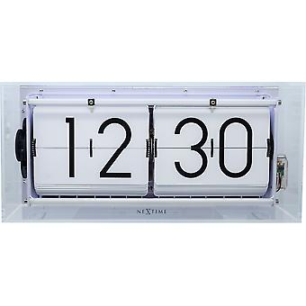 Nextime-Table Clock-Ø 36 cm-Akryl-flip Clock-transparent-' stor flip Clear '