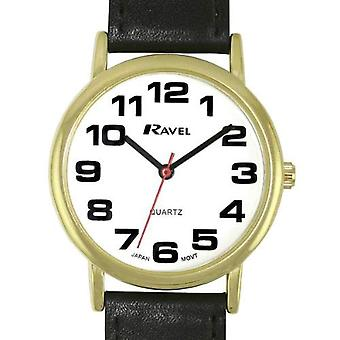 Ravel Classic Analogue Jumbo Dial PU Black Strap Gents Dress Watch R0105.05.1