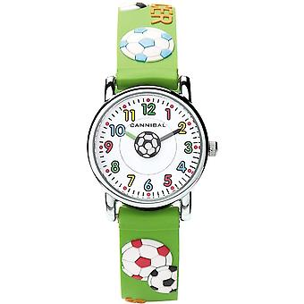 Cannibal 3D Football Design Green Rubber Strap Watch CK198-11