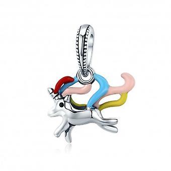 Sterling Silver Hängande Charm Färgglada Enhörning - 5508