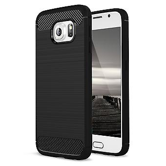 Shell pour Samsung Galaxy S6 Case Protection TPU Slim Armor Carbon Fiber Black