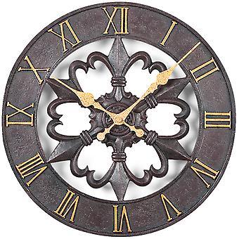 أتلانتا 4445 الجدار على مدار الساعة الكوارتز التناظرية الجولة الحديد تبدو أرقام رومانية