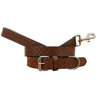 Bradley crompton genuine leather matching pair dog collar and lead set bcdc5tanbrown