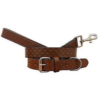 Bradley crompton véritable cuir correspondant collier de chien paire et lead set bcdc5tanbrown