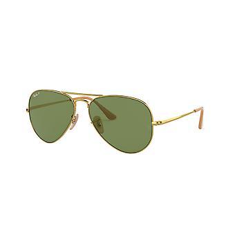 Ray-Ban RB3689 9064O9 Shiny Gold/Polaroised Green-AR Blue Sunglasses