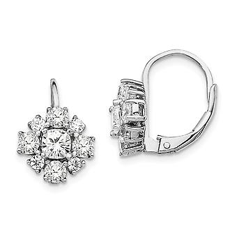 925 Sterling Silver CZ Cubic Zirconia Simulated Diamond Leverback Earrings Measures 15x10mm Wide Jewelry Gifts for Women