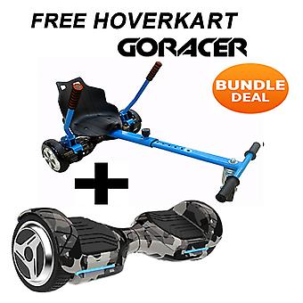 G PRO Camo Segway with a Racer Hoverkart in Blue