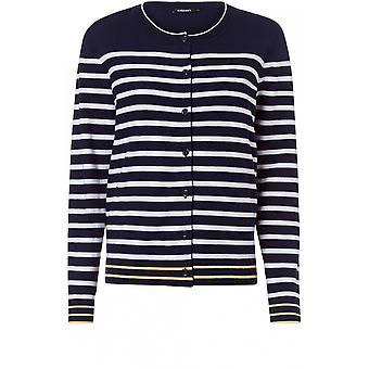 Olsen Navy & White Striped Cardigan