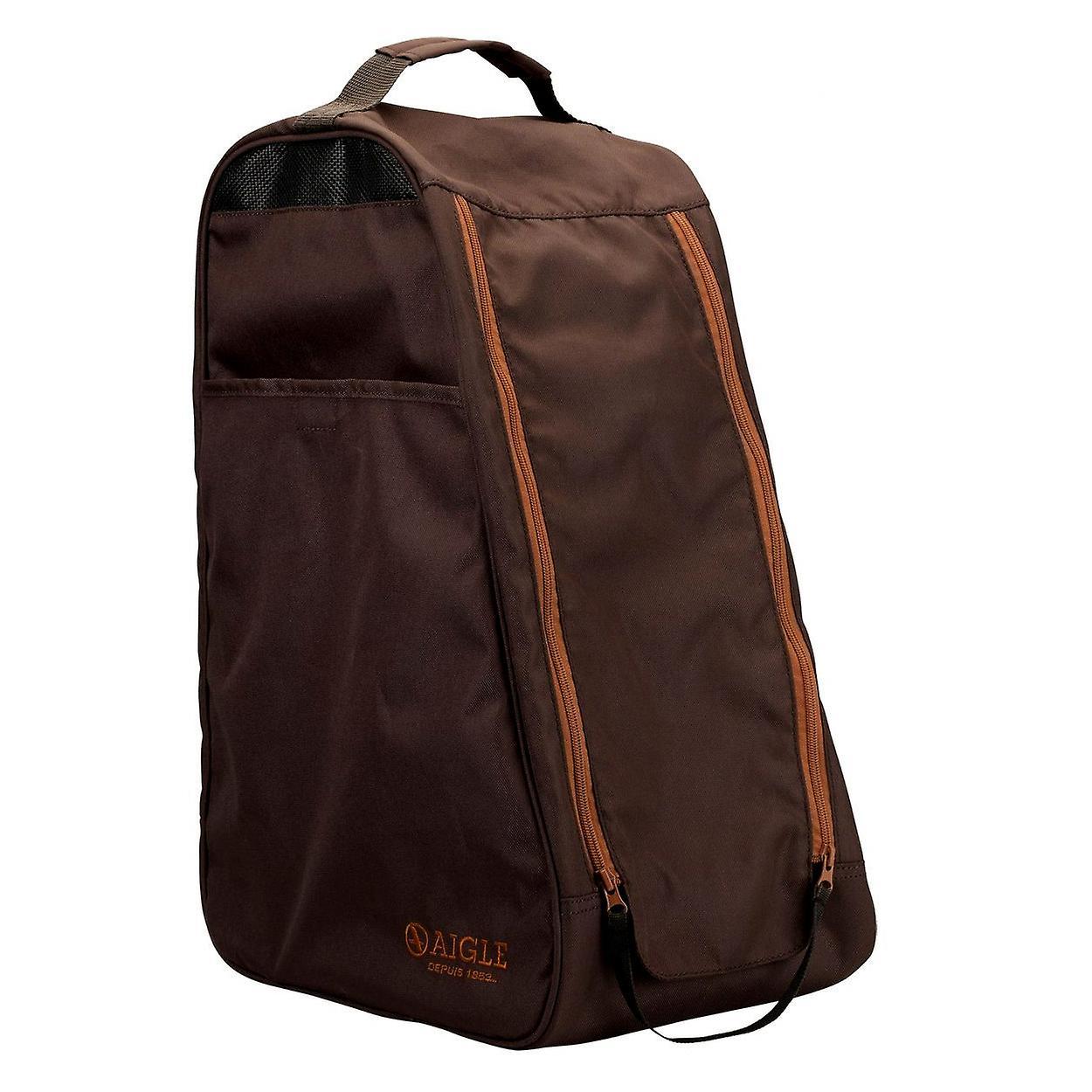 Aigle Dark Brown boot bag - wellington boot or shoe carrier - waterproof bag