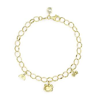 Hello Kitty 18ct Gold Plated Vermeil Triple Charm Bracelet